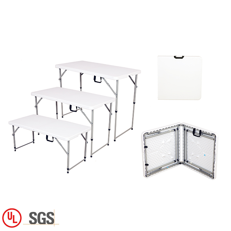 HDPE Portable Adjustable White Plastic Outdoor <strong>Folding</strong> In Half Picnic Table