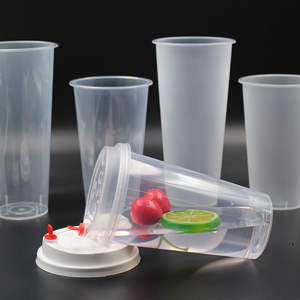 Custom 500ml 700ml Clear PP Disposable Plastic Bubble Tea Cup with Lid