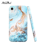 AT For iPhone XR Flexible Slim Glossy Blue Green Marble Rock Stone IMD Design Protective Shock Proof Rubber Silicone Phone Case