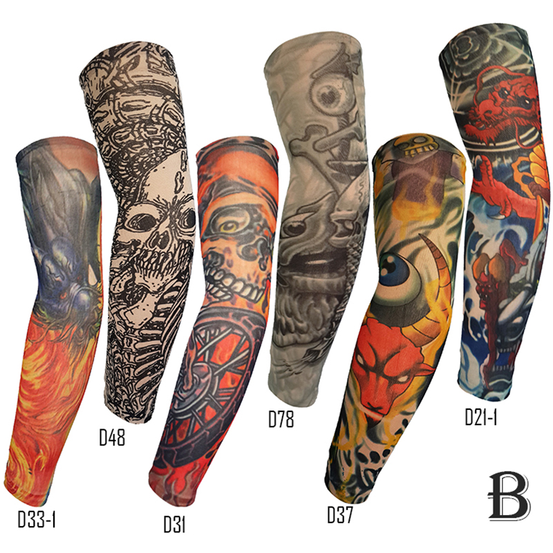 Großhandel custom cartoon stoff strümpfe körper vollen arm bein temporäre tattoo arm hand nylon hülse