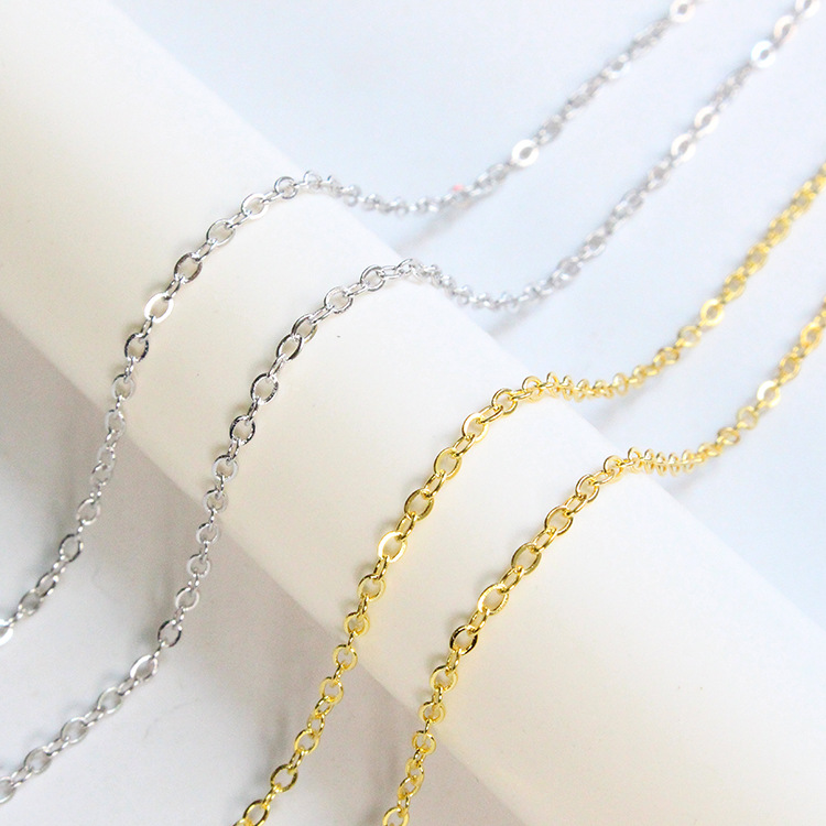 Hot sale 925 Sterling <strong>Silver</strong> 1.5*1.9mm flat O shape Chain Gold <strong>Silver</strong> Chain sold by meter
