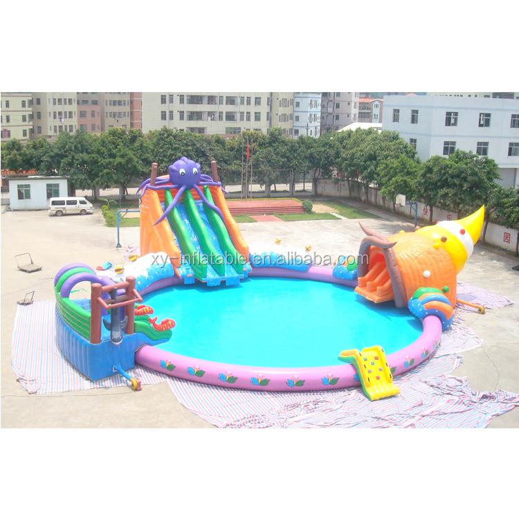 Mutiplay de atracciones inflable parque de agua juegos de agua/agua inflable piscina con tobogán