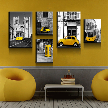 5 pieces of painting black and white yellow print decoration family can be hung Cars wall art decor canvas
