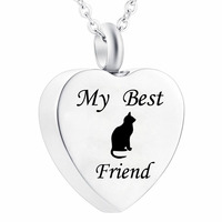 Women Animal Jewelry Heart Cute Cat Necklace Cremation Pet Urn Necklace Ashes Pendant Jewelry for Dog Cat