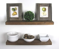 "Handmade Rustic Wood Floating Wall Shelves, Walnut, Set of 2, (24"" Walnut)"