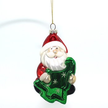 2019 Hand blown glass art Crafts figurines Santa Claus shape Christmas decoration Ornaments