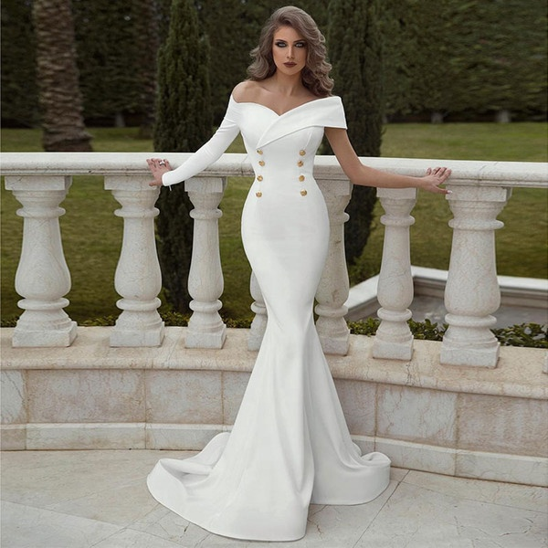 Chinese Guangzhou Fancy Fabric Women Gown White with Sleeves Evening Dress