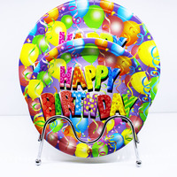 Happy birthday colorful ballons decoration white cardboard disposable eco-friendly paper plates