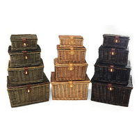 Custom Size Empty Wicker Picnic Hamper Storage Basket For 4 Person