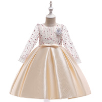 New kids long sleeve evening grow children cute baby girls design satin birthday elegant party dress