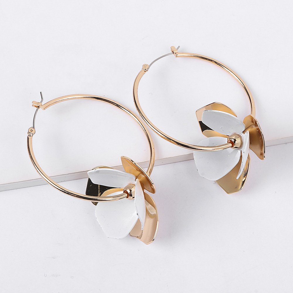 European Fashion Alloy Women <strong>Earrings</strong> Hoop <strong>Earrings</strong> <strong>Gold</strong> Big <strong>Flower</strong> <strong>Earrings</strong>