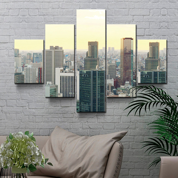 5 words living room decoration modern city high-rise wall art decor canvas  printing wholesale acrylic painting set
