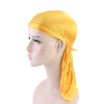 Fashion Silk Long Tail Scarf Cap Multi Colors Soft Satin Durag Bandanna Turban For Women Pirate Hat High Quality
