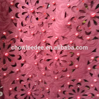 2017 new arrivals of beaded hand cut lace with beautiful stones nice design lace fabric for bridal and many colors in stock