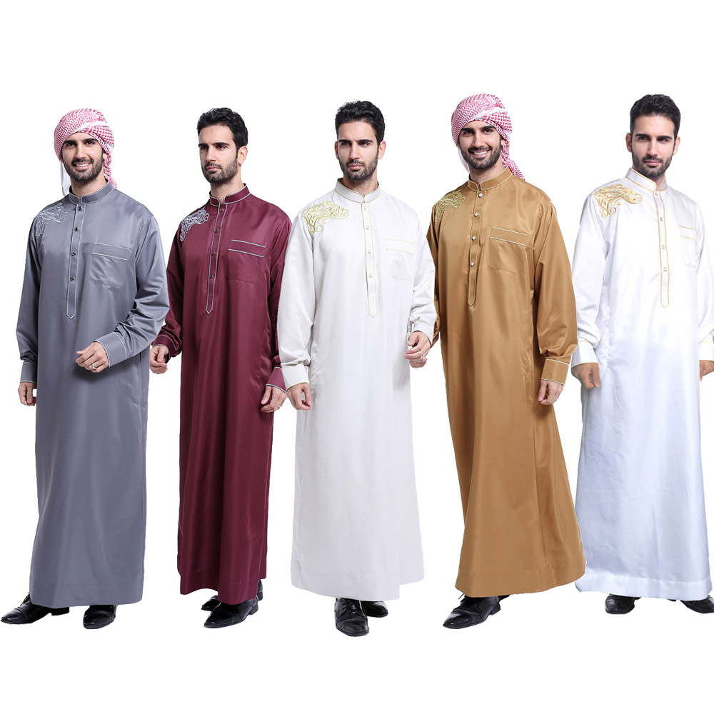 Men Muslim Robes Islamic Clothing Dubai Arabic kurta embroidery designs Abaya Kaftan Eid Mubarak Maxi Jubba Thobe for men