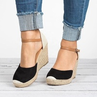 Fashion Women Closed Toe Espadrilles Platform Heel Wedge Shoes Ankle Strap Sandals
