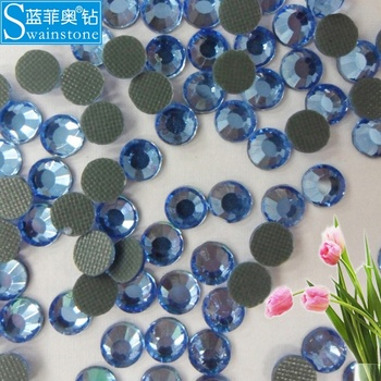 Y1013  SS10 3MM 500gross Light sapphire korean lead free strass transfer for wedding dress wholesale