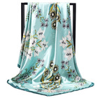 Newest handmade 90*90cm Gerbera jamesonli Floral 100% Polyester cheap satin promotional scarf for women