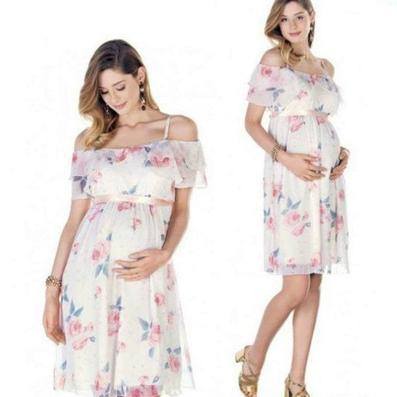 P250 Wholesale 2019 summer <strong>white</strong> chiffon floral shoulderless <strong>maternity</strong> wear <strong>dress</strong>