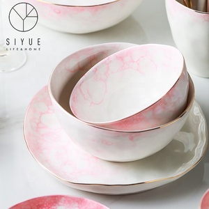 Hot Chinese style literary pale pink ceramic salad fruit bowl