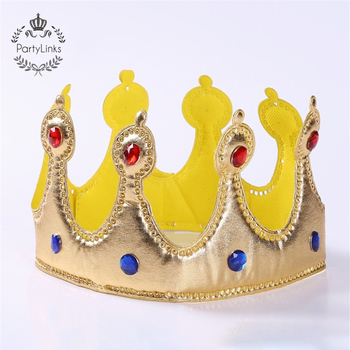 New King & Queen Gold Crystal Jeweled Crown & Tiara Costume Halloween Sets