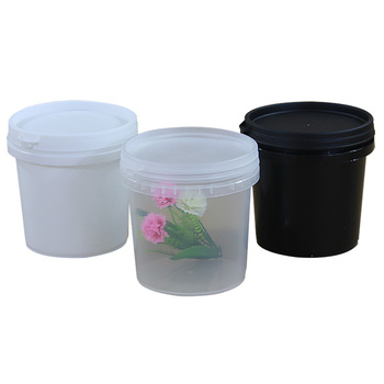 1L 100pcs/set Clear White Black Color PP Plastic Bucket With Lid Handle For Food Butter Honey Candy Ice Cream Popcorn