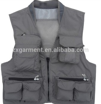 custom made Fishing vest factory supply multi pocket vest shooting clothes mens vest with pockets
