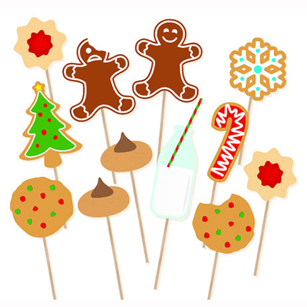 12Pcs Happy Christmas Cookies Photo Booth Props Magic Party Props