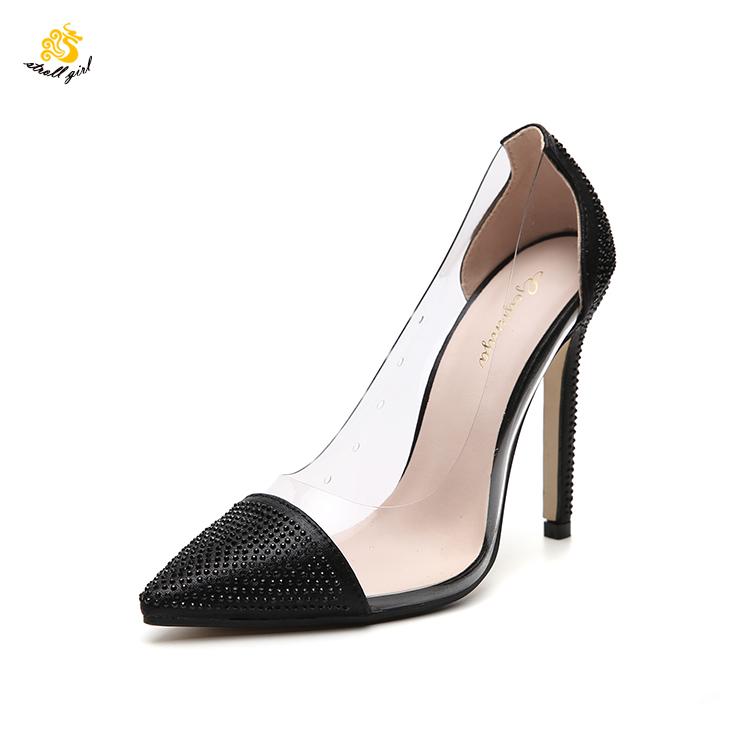 e33487a32 Infinito Passeio Menina G1904030 18 centímetros mulheres sapatos saltos de cristal  saltos altos em pvc contrato
