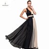 2019 hot women evening dress strap mesh chiffon ball gown floor length sexy girl pleat patchword color cocktail dresses