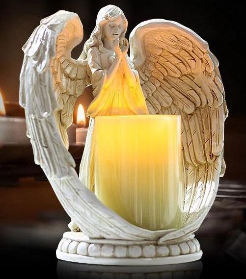 Resina de COLOR blanco envejecido pie rezando Ángel ala grande luz LED estatua titular de la vela de vacaciones de regalo presente