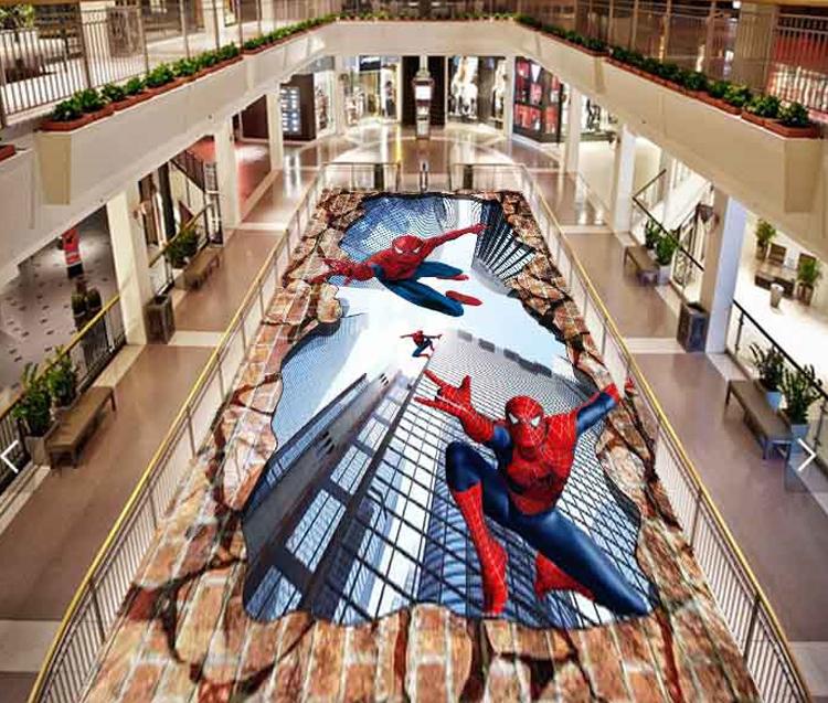 3d Spider Man Design Adhesive Floor Covering Vinyl 3d Floor Mural