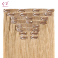 Seamless PU skin weft clip in hair extension