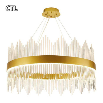 French luxury living room chandelier can be customized gold LED post-modern hotel hall k9 crystal chandelier light
