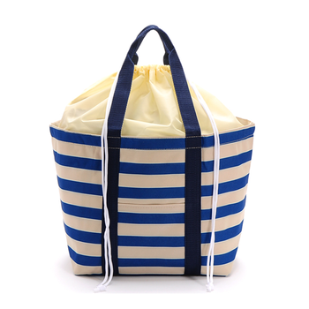 Striped Drawstring Cheap food delivery Tote cooler bag insulated