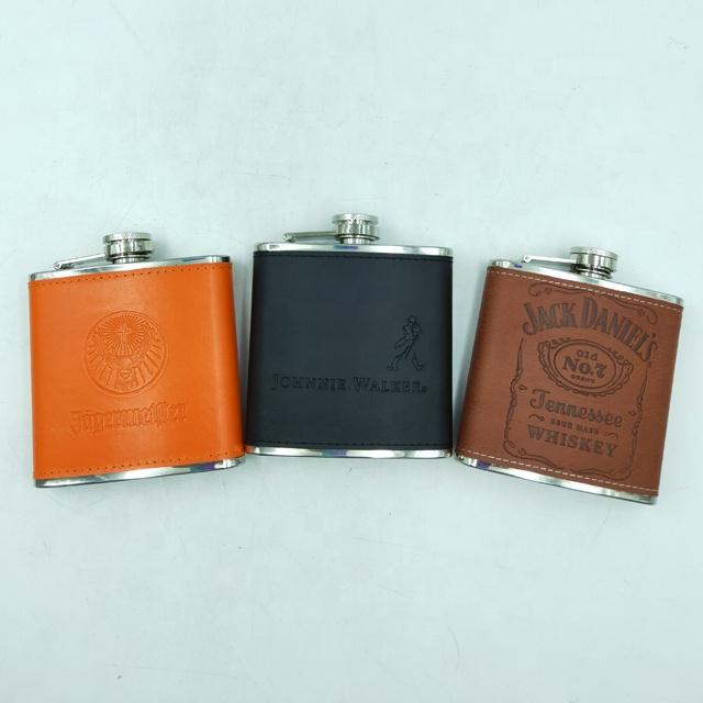 Amazon ขายร้อนสแตนเลส 6 OZ สะโพก Flask พร้อม Jagermeister/Jack Daniel Johnnie Walker โลโก้
