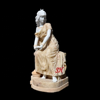 2019 New Beautiful Marble  Sitting Woman Statue For Sale