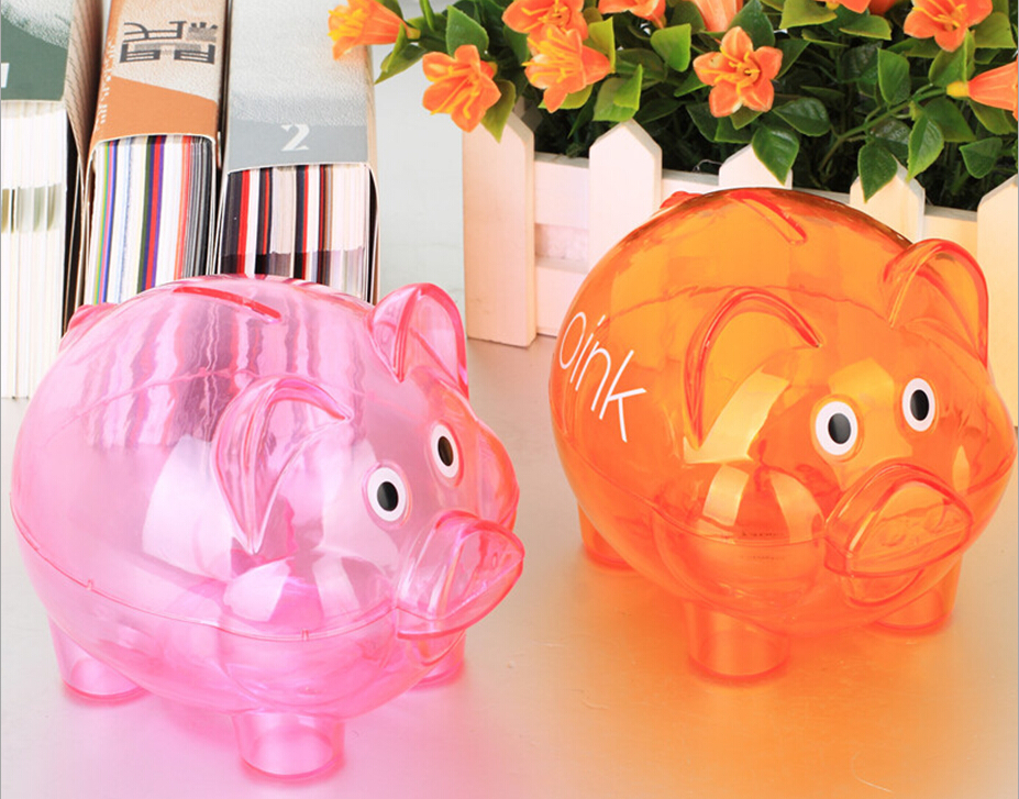 Transparent saving box plastic piggy bank custom money box Plastic piggy banks for kids