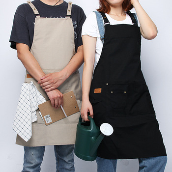 Simple American overalls apron unisex uniform size coffee shop restaurant uniform