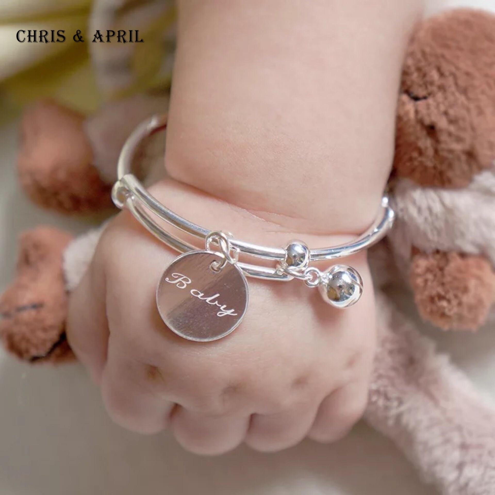 Bébé mignon Logo Personnalisé Bracelet En Argent Sterling