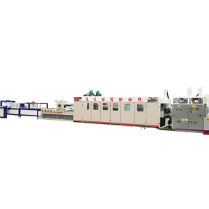 2019 high speed automatic2 3 4-colors flexo ink printing slotting die cutting (gluing )(bunding ) linkage line for sale