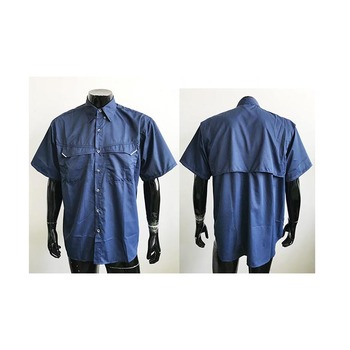 Design Service Summer Cooling Vented Fishing Wear Navy Fishing Shirts with Neon Yellow Mesh