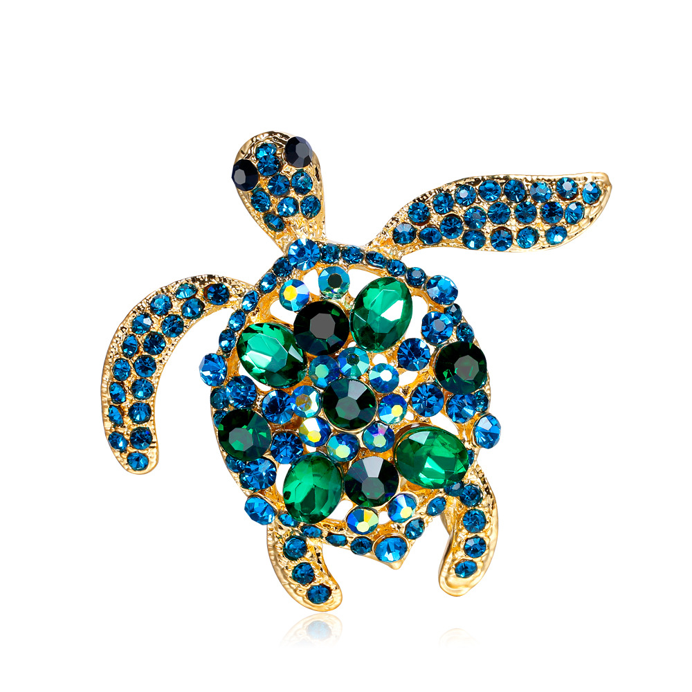 Bling bling or plaqué strass animal tortue broche