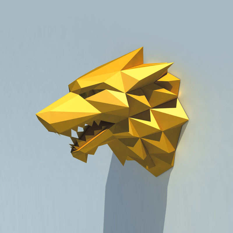 3D Lobo Cabeça de Animal Home Decor Sala Wall Art Decor DIY Modelo do Ofício de Papel Do Presente Do Partido