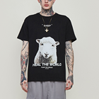 2019 Wholesale Famous Brand Men Black Animal t-shirt Casual Cotton Round Neck Sheep Printing t shirt