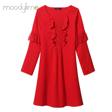 Moodylime Summer New Chiffon Dresses A-Shaped Loose Lace Stitching Red Long Skirt