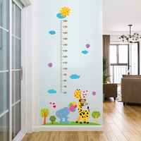 Fashion kids cartoon animal wall sticker/Giraffe/Elephant/Mokey wall chart for baby learning/height measurement sticker