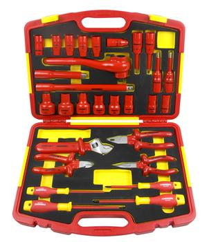 China VDE 29PCS Insulated Combination Home Household Box Hand Tool Set, Mechanical Electrical Hand Tools