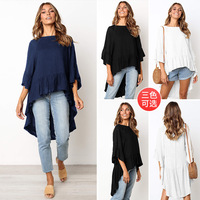 2019 Women Blouse Tops Casual O-Neck Long Sleeves Blouses Spring Summer Shirt