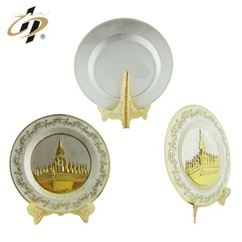 Cheap custom top quality zinc alloy  Silver inlaid gold souvenir plates for national day